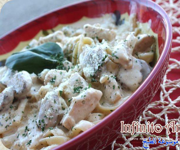 صورة طريقة عمل باستا معكرونة فيتوتشيني الفريدو بالدجاج لذيذه سريعه وسهله pictures arabian fettuccine pasta recipes in arabic food recipe easy
