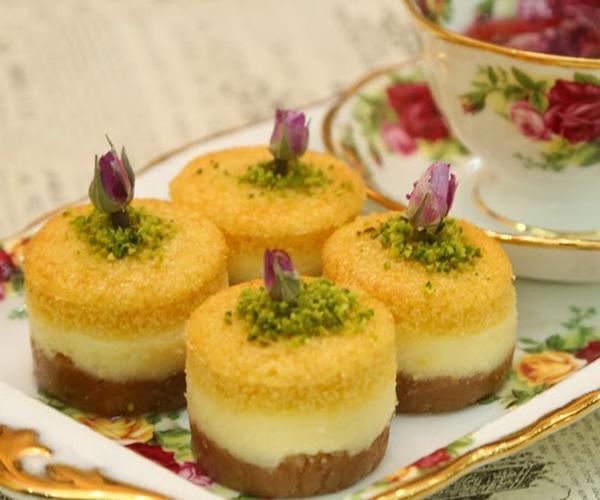 صورة وصفة كيفية طريقة تحضير وعمل حلى منزلي حلى ميني بسبوسة تشيز كيك سهل ولذيذ وسريع pictures arabian homemade desserts recipes candy in arabic sweets easy